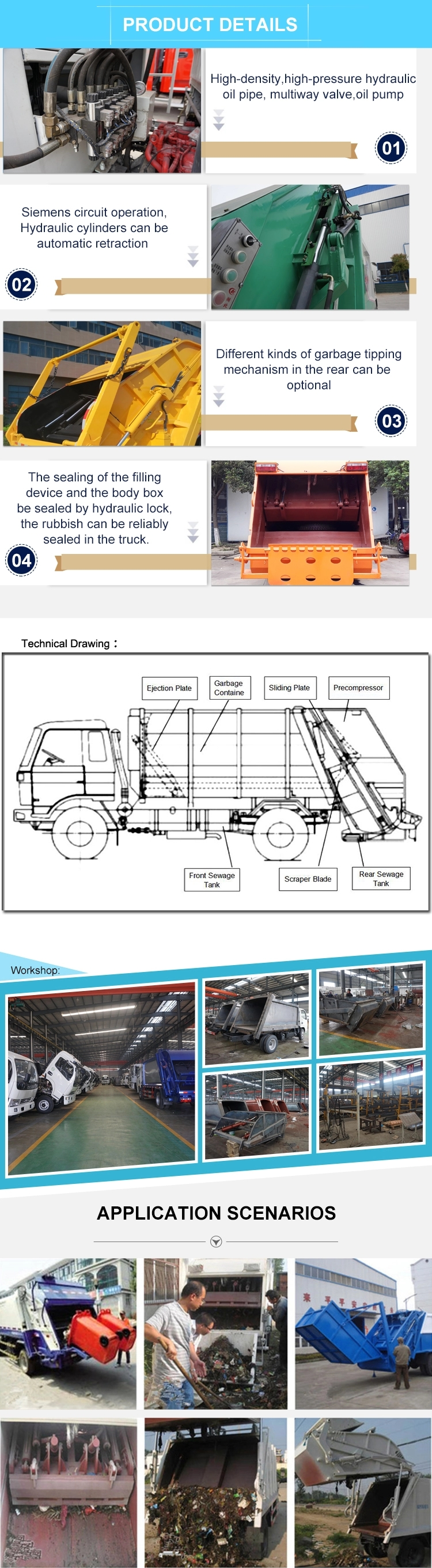 Detail drawing of garbage compactor truck