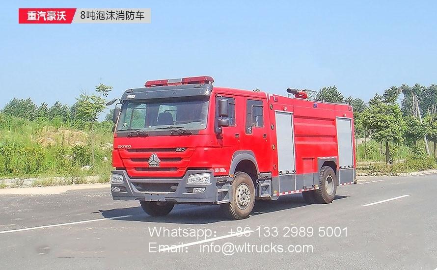 Sinotruk Howo 8000L water Foam fire truck