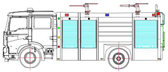 Dry powder fire truck Bodywork structure