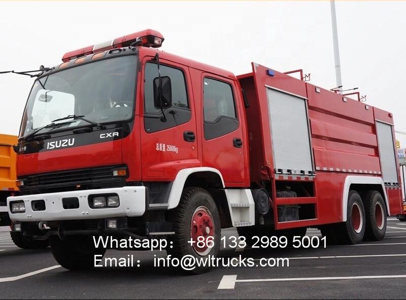 6x4 Japan ISUZU FVZ 11000 liter fire fighter truck