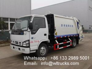 Japanese ISUZU 5 ton Rear Loading compactor Garbage Truck