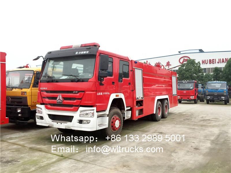 6x4 Sinotruk howo 16000L water tank fire truck