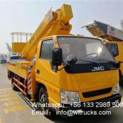Straight arm aerial platform truck