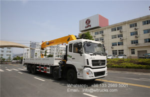 8x4 Dongfeng 16 ton straight arm truck mounted crane with hydraulic ladder