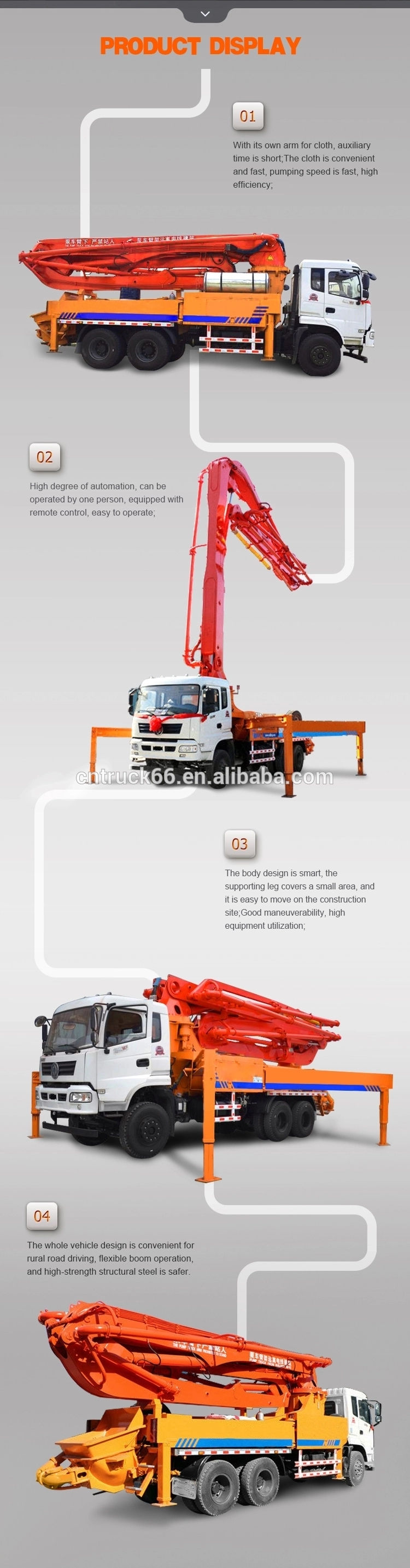 Concrete pump truck detailed picture