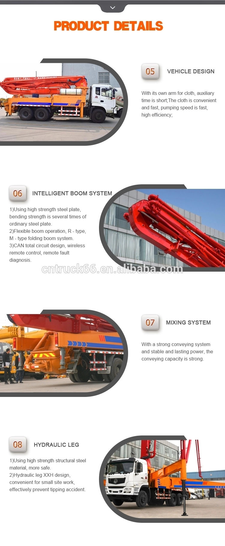 Concrete pumping truck Product Display