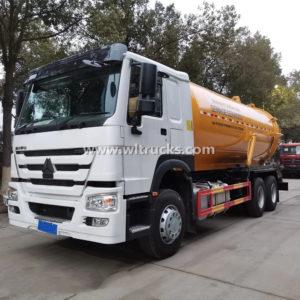 6X4 Sinotruk HOWO 20cbm Sewage Suction Tank Vacuum Truck