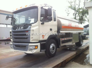 JAC 2500 gallon Aluminum alloy Fuel Cistern Truck with Oil Dispenser Truck
