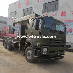 Isuzu 6x4 Heavy Duty 12t mobile Sany Palfinger Stiff Straight arm crane Truck