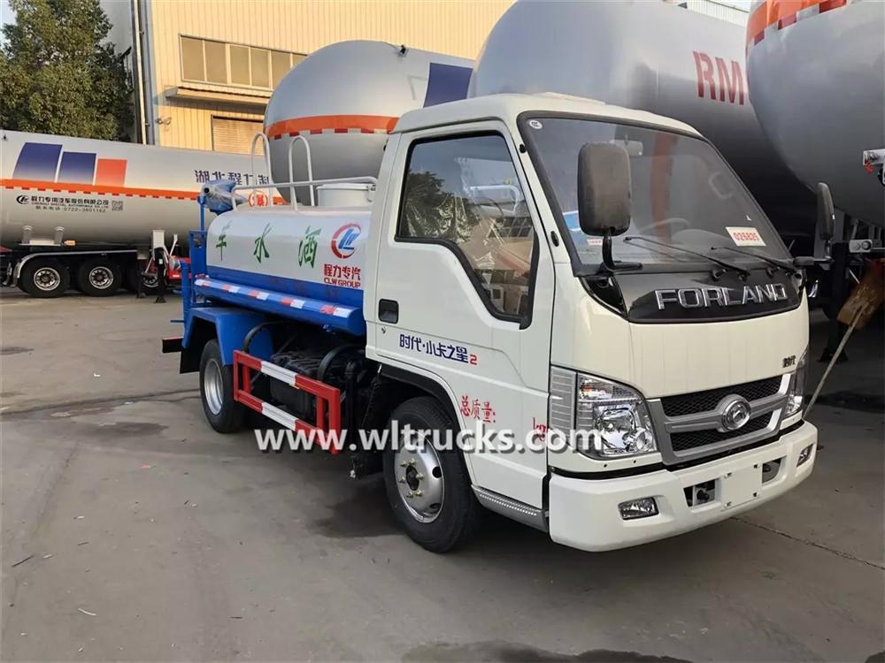 Mini 3m3 construction road water sprinkler truck