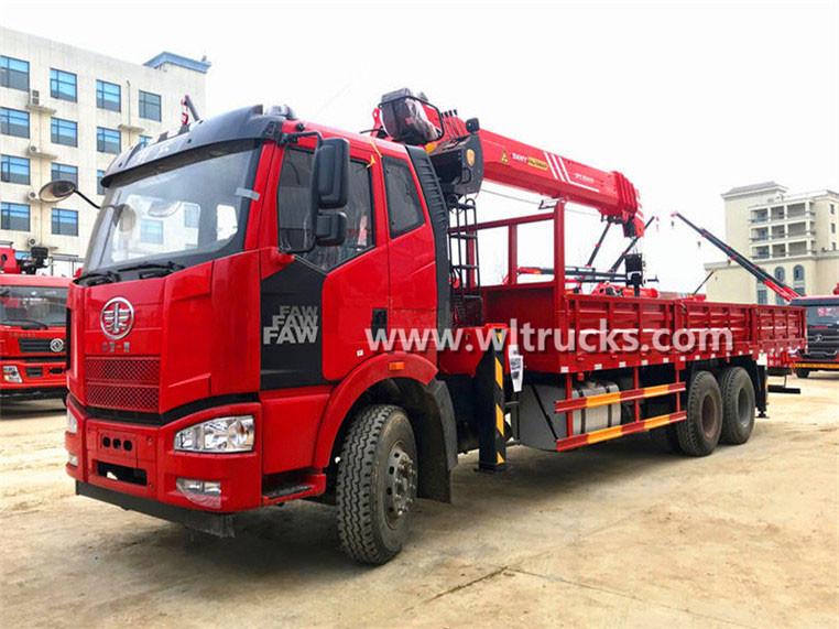 6x4 FAW J6 Sany Palfinger 12 ton truck mounted crane