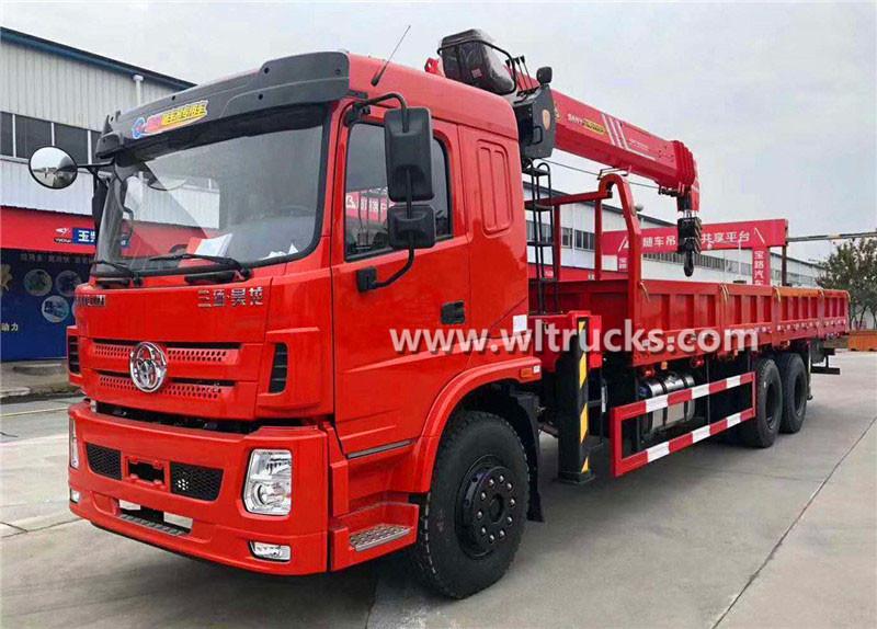 6x4 Three Ring Haolong 12 ton Sany Palfinger straight arm truck mounted crane