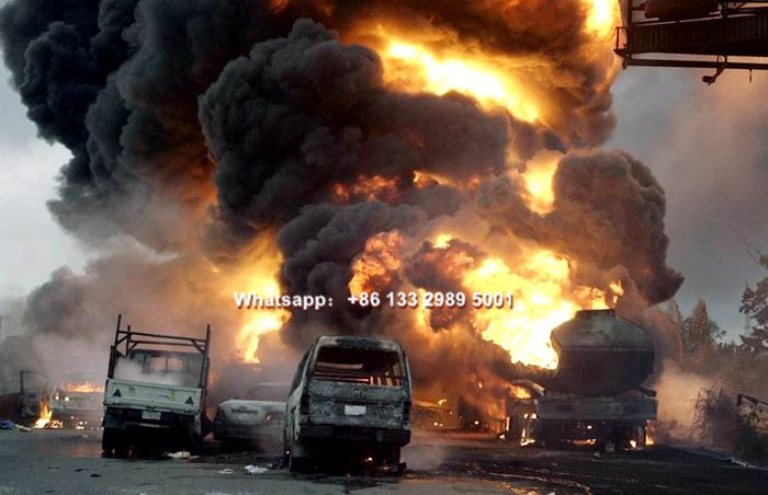 Fuel oil tanker truck explosion pictures