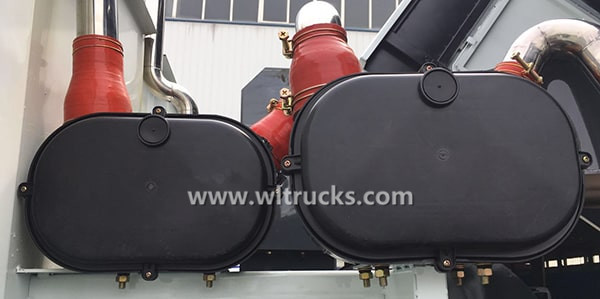 Road sweeper auxiliary engine filter system
